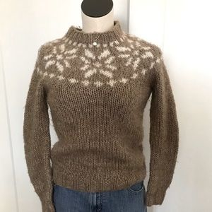 J Crew Handknit Fair Isle Alpaca Wool Sweater